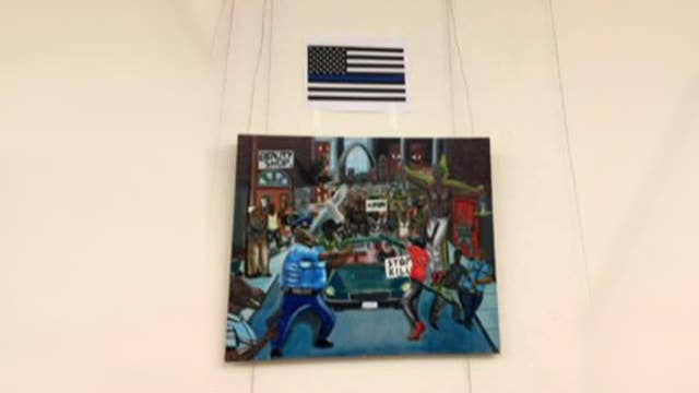 'Thin blue line' flag outshines anti-police picture