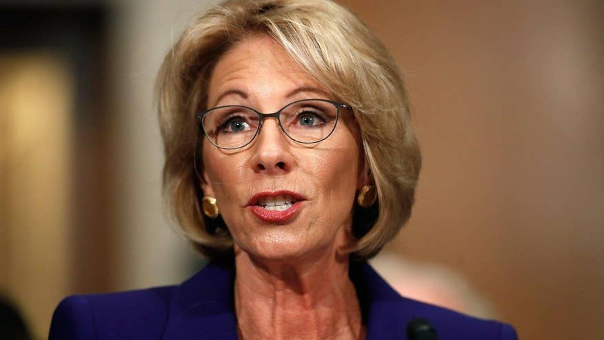 Trump nominee DeVos, a pioneer in the school choice and charter school movements, has a few opponents to proposed job as education secretary and Tucker takes on one of them #Tucker