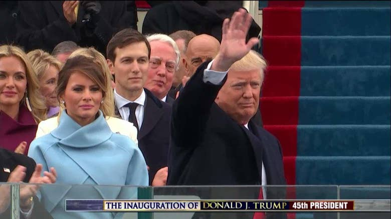 Inauguration highlights donald trump becomes 45th president of he kissed his wife melania and first lady michelle obama before greeting president barack obama m4hsunfo