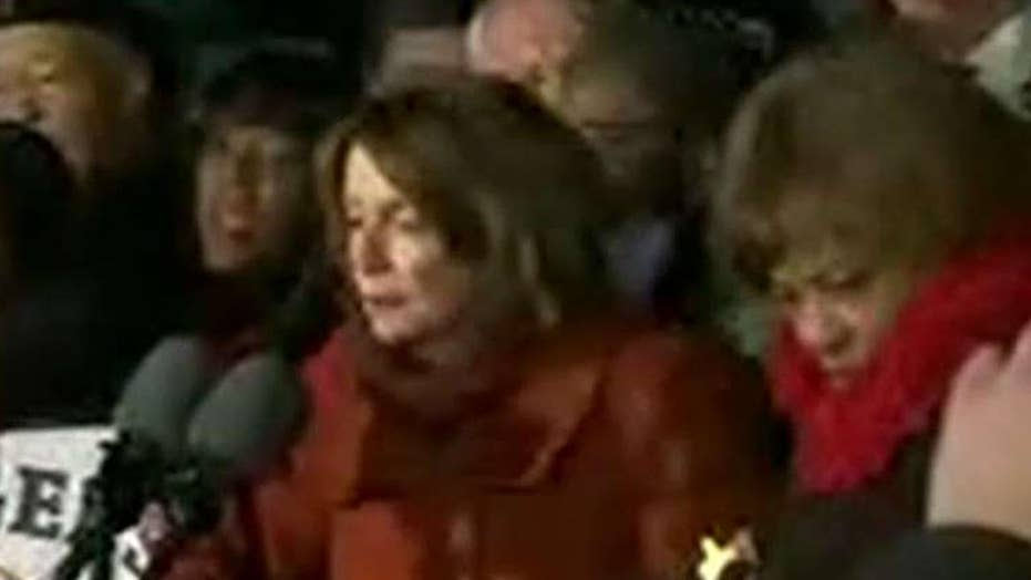 Nancy Pelsoi caught on hot mic during Trump protest