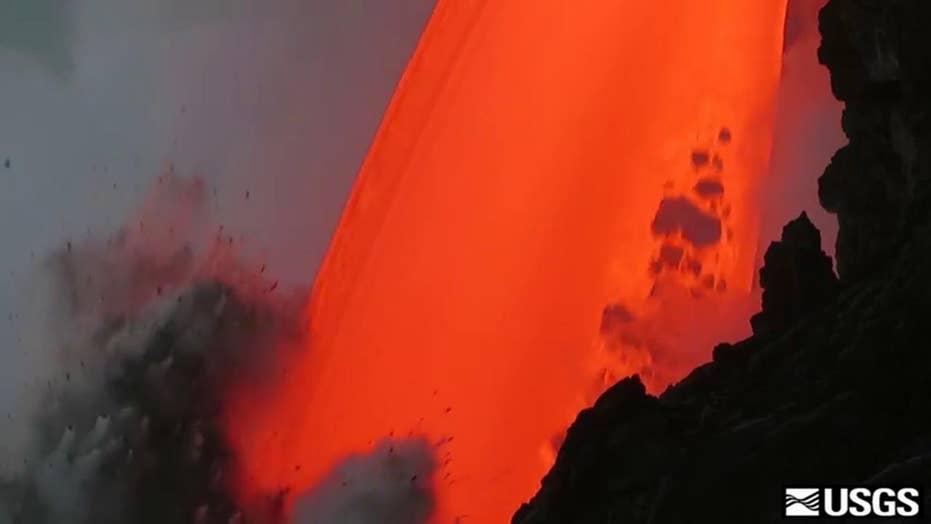 Massive stream of molten lava pours into Pacific Ocean