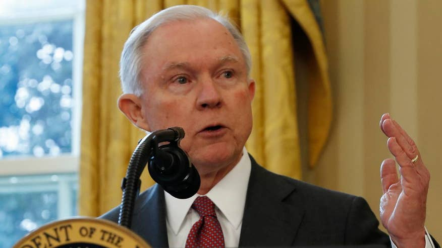 Sessions makes remarks following swearing in ceremony with President Trump