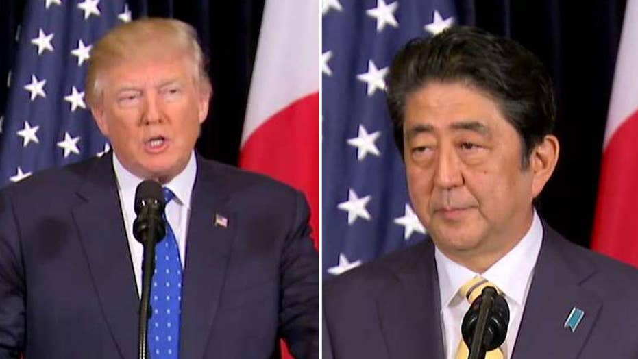 Pres. Trump and Prime Minister Abe speak from Mar-a-lago
