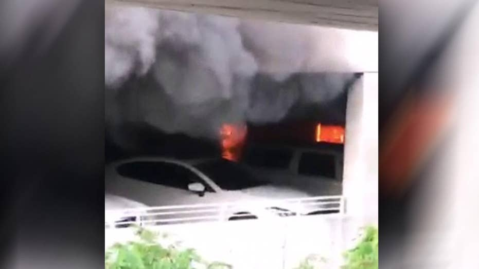 Fire in Disneyland parking structure destroys eight vehicles