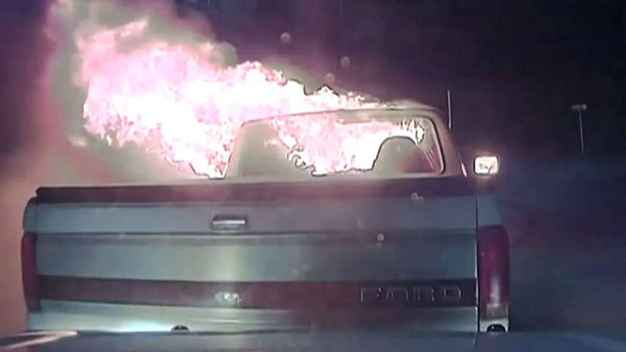 Texas officer's quick thinking stops blaze from spreading