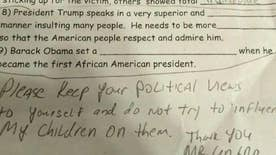 NY dad questions his 11-year-old daughter's homework assignment when politics is injected. Is this a case of school indoctrination or parental overreaction? #Tucker