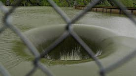 Man-made spillway drains excess water from Lake Berryessa