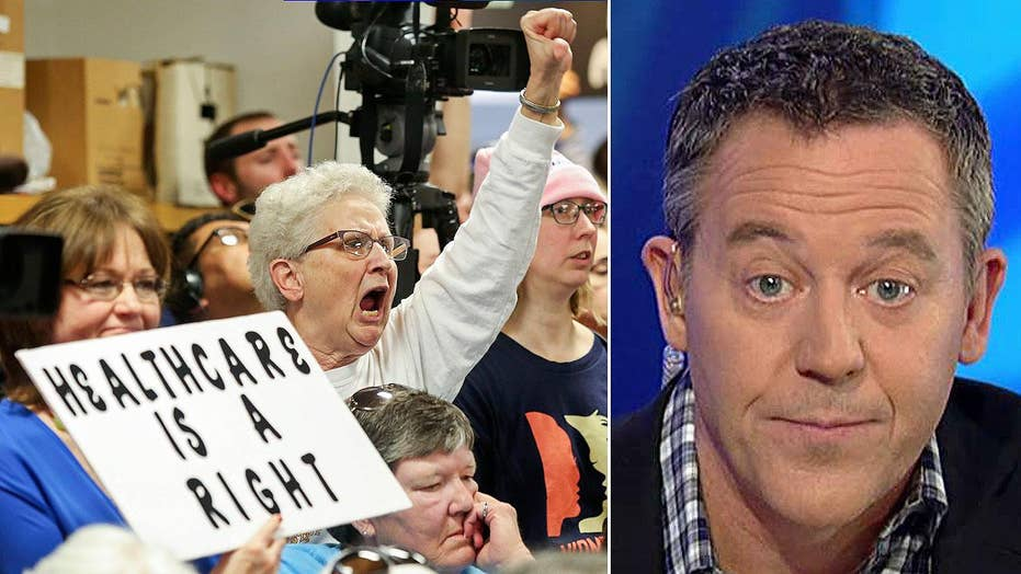 Gutfeld: Media change their tune on town hall protests