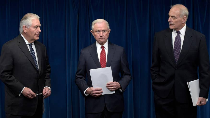 Secretary of State Tillerson, Department of Homeland Security Secretary Kelly and Attorney General Sessions brief the press