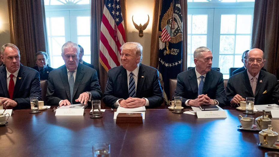 President Trump holds first official Cabinet meeting