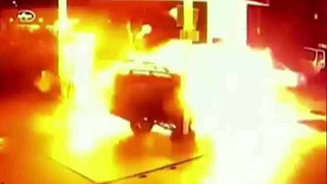 Fiery explosion after Uber driver crashes into gas pump