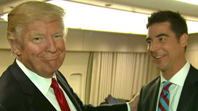 Jesse Watters checks out Trump rally, Air Force One
