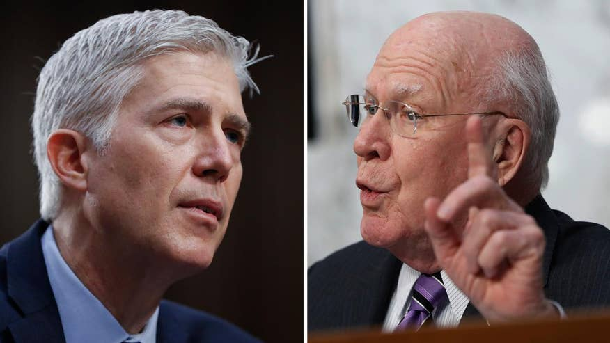 President Trump's Supreme Court pick answers question from Sen. Leahy at Senate confirmation hearing