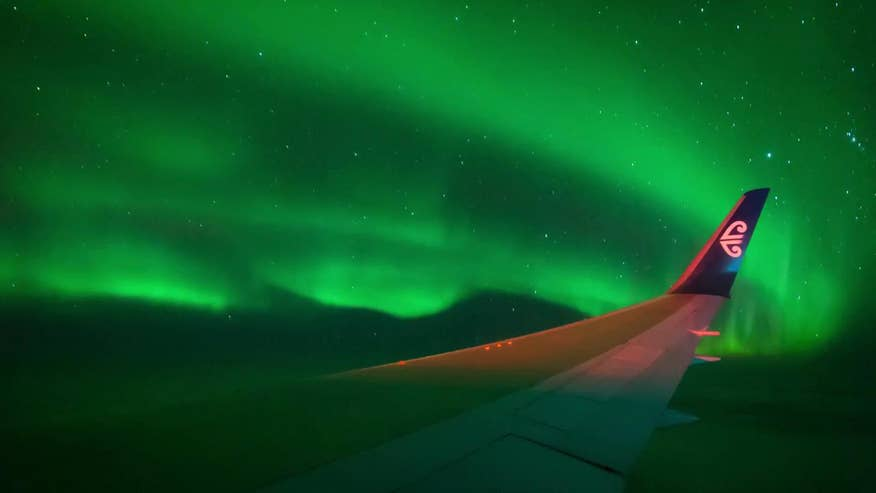 Raw video: Time-lapse of Aurora Australis filmed during eight-hour charter flight from New Zealand for astronomers and nature photographers