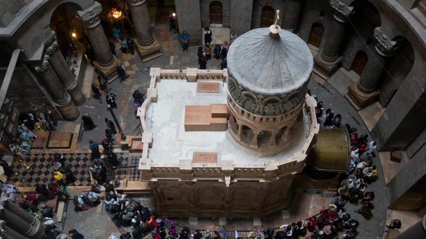 Renovation of the Edicule, which houses the cave where Jesus is believed to have been entombed and resurrected, is complete and re-opened in Jerusalem