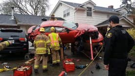 Fire crews rushed to treat the injured driver