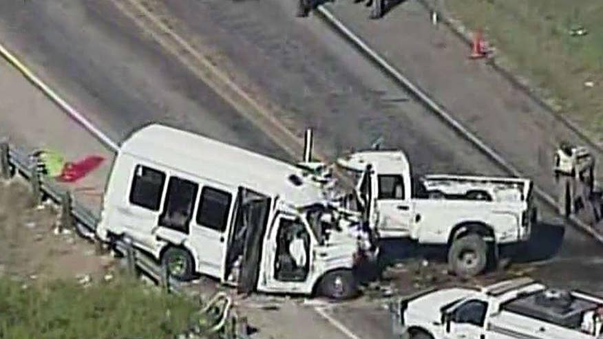Bus collides with pickup truck leaving 12 dead, 3 injured