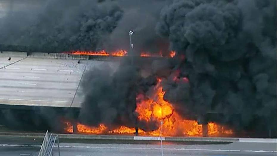 Massive inferno causes I-85 bridge to collapse in Atlanta