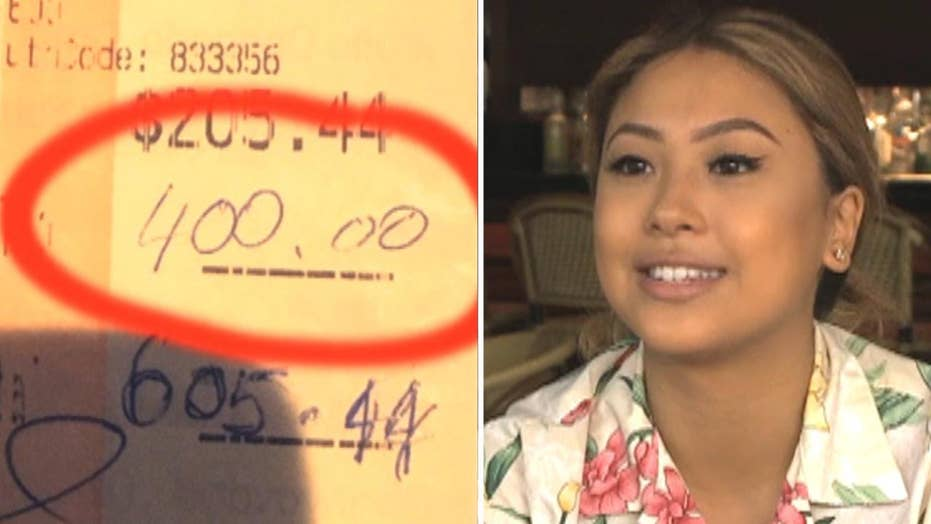 Huge tip leaves waitress 'at a loss for words'