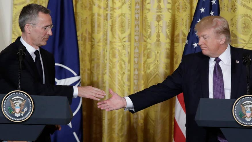 Joint news conference between President Trump and the NATO secretary general