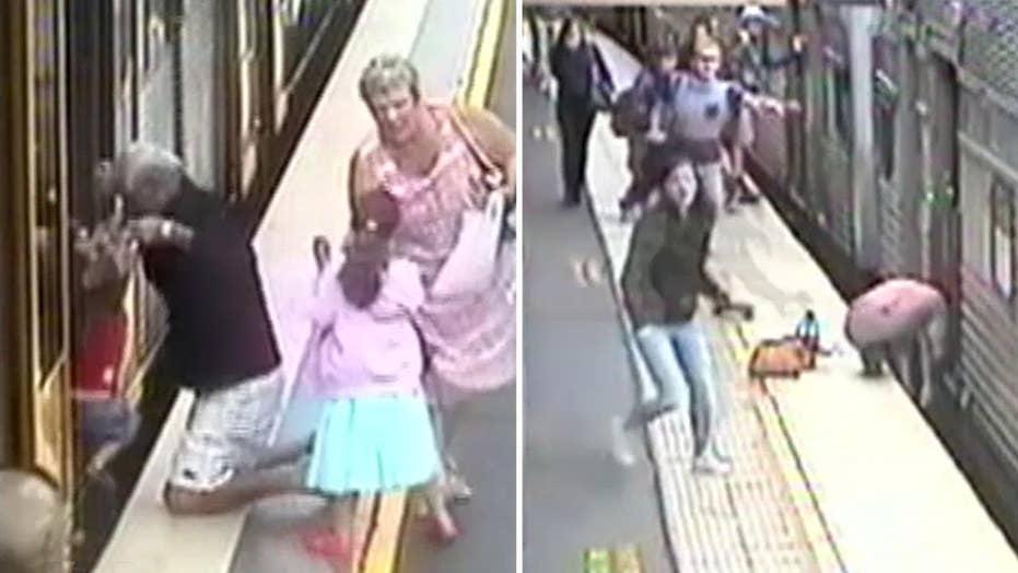 Shocking videos show children falling into subway gaps
