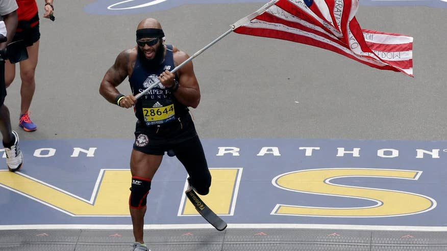 Two separate runners, who both lost a leg in Afghanistan, competed in and finished the 121st Boston Marathon
