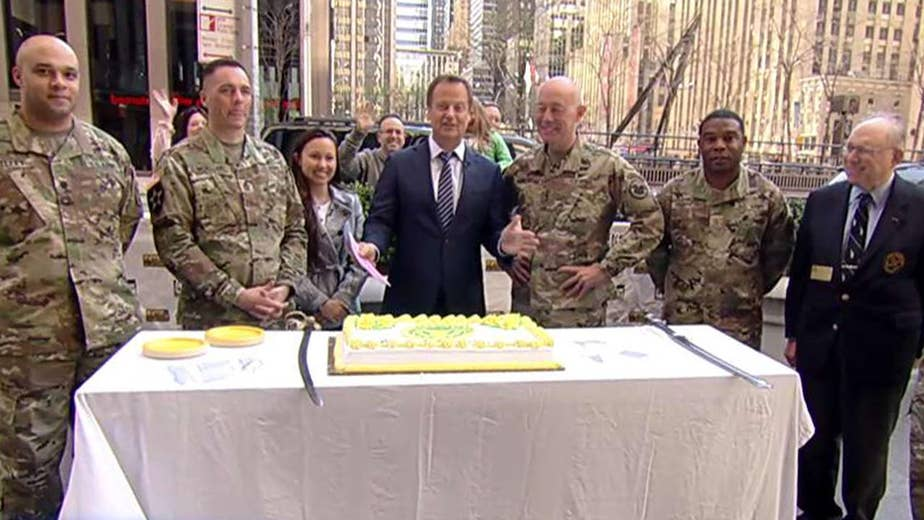 Cake-cutting ceremony on 'Fox & Friends'