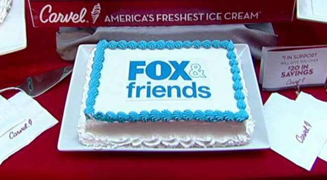 Fudgie the Whale gives out cones on the 'Fox & Friends' plaza