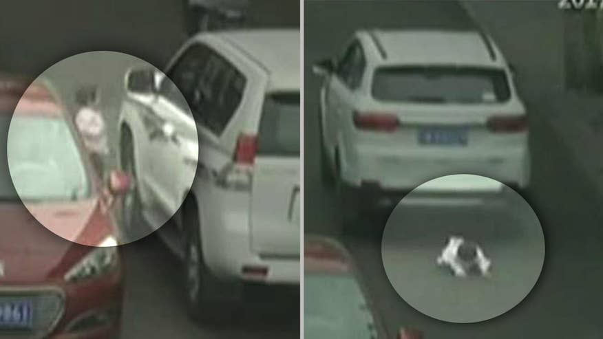 Two-year-old in China suffers only minor bruises after dramatic incident caught on camera