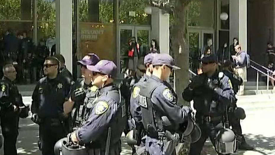 Berkeley protests underway as police line streets