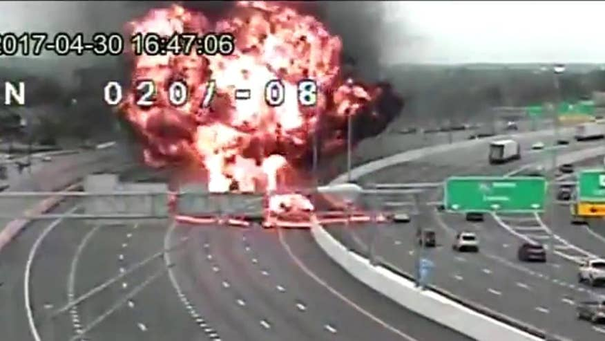 Raw video: Huge blast following fatal accident on Ohio highway caught on camera