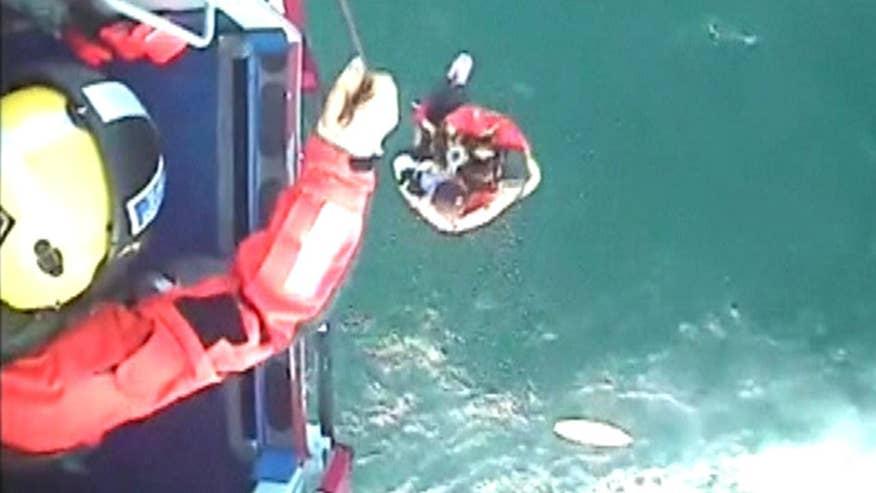 Raw video: 22-year-old plucked from sea, lifted into rescue helicopter 13 miles off Scottish coast