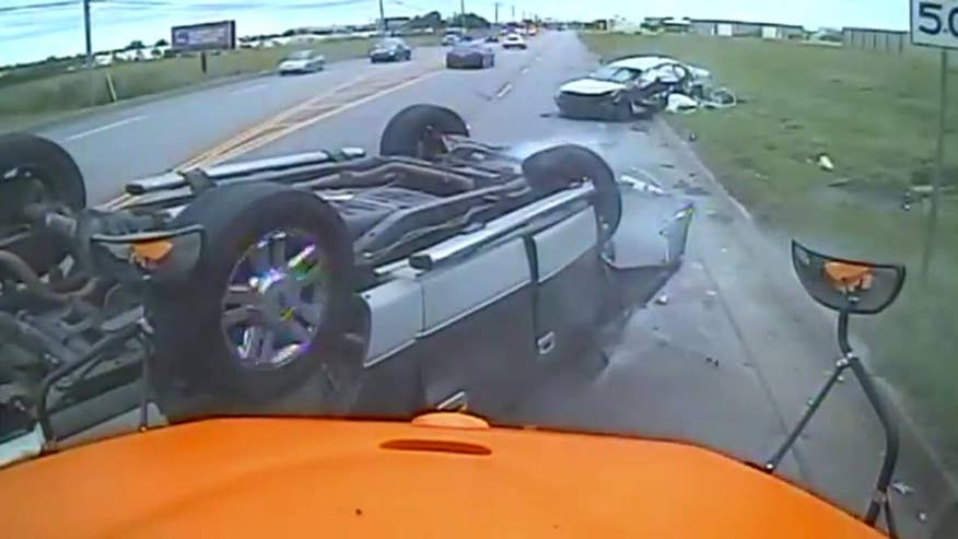 Raw video: Truck flips after veering into lane and smashing into car in Oklahoma