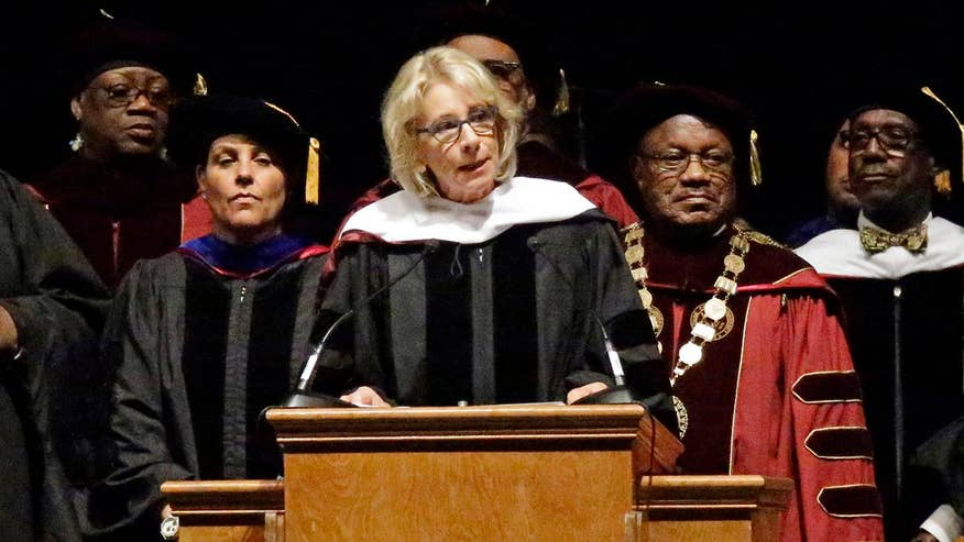 Some students at the historically black Florida college, Bethune-Cookman University, heckled Education Secretary Betsy DeVos during her commencement speech. Video courtesy Bethune-Cookman University
