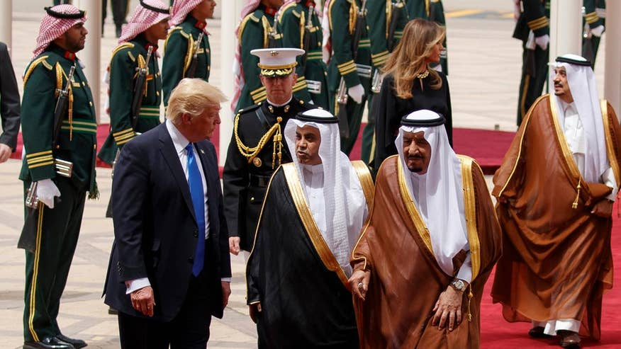 President arrives in Saudi Arabia on first stop of overseas trip