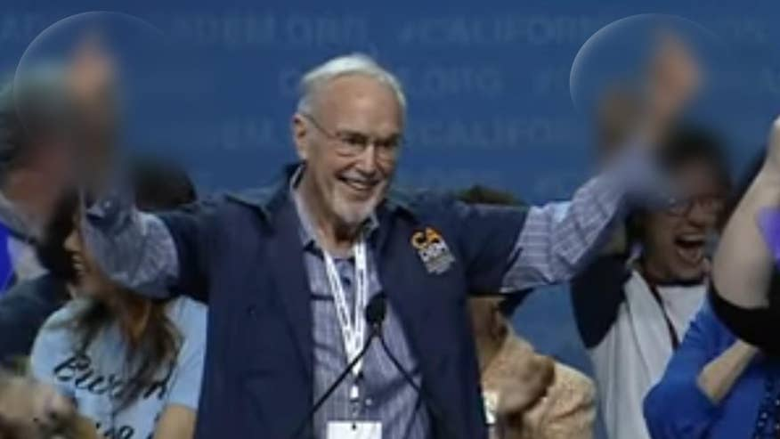 Raw video: Party Chairman John Burton leads 'f*ck Trump' chant at California's Democrat Party convention in Sacramento