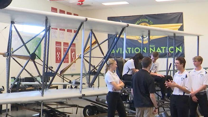 Las Vegas school works on project to restore 1905 replica in their aviation lab