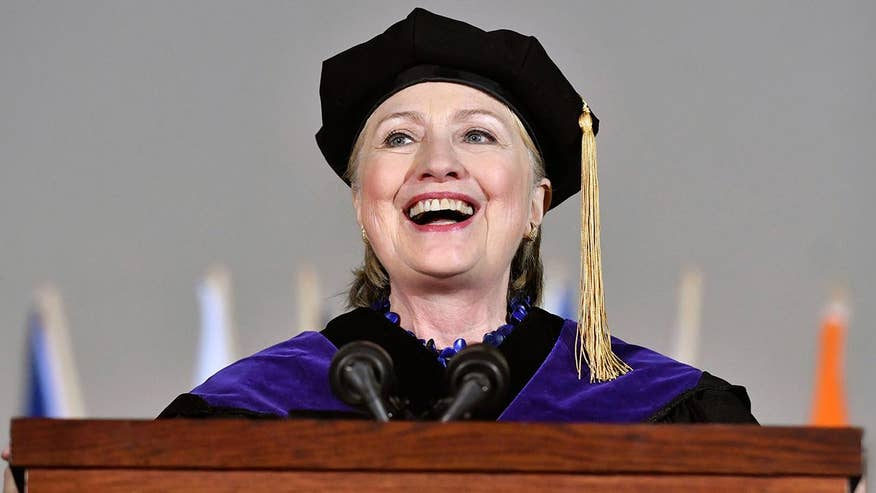 Hillary Clinton took several jabs at President Trump and reflected on how she's been dealing with her election loss when she delivered the 2017 commencement address at Wellesley College