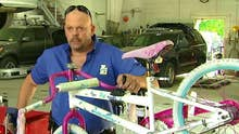 Man with degenerative brain disease provides bikes to kids