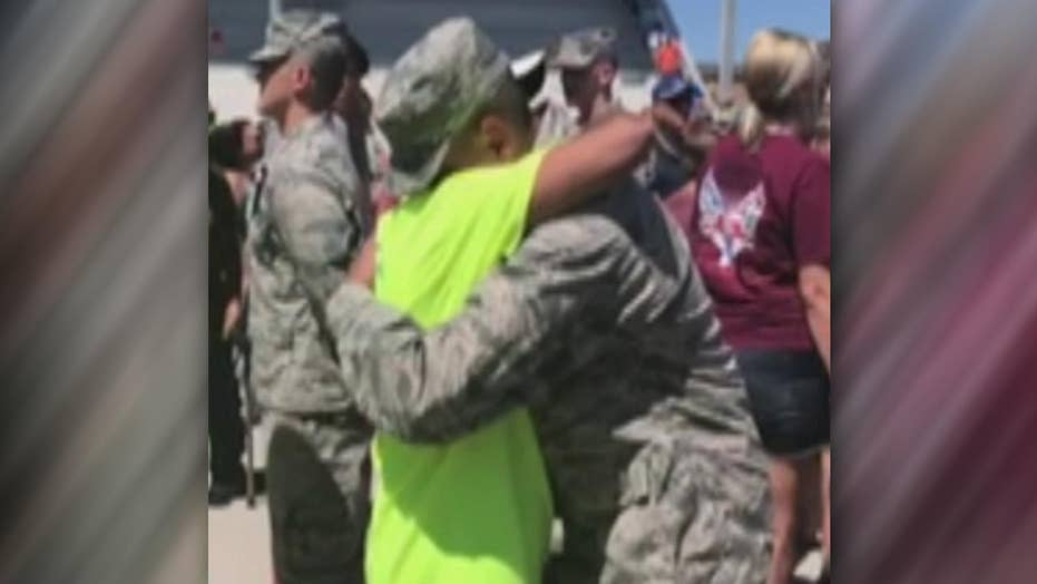 Dad with ALS stands to 'tap out' Airman son