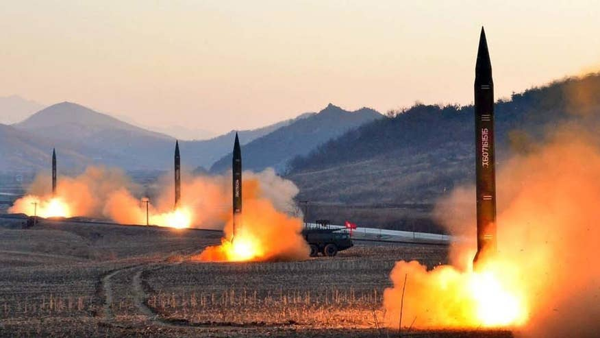 North Korea fires a salvo of missiles from their eastern seaboard