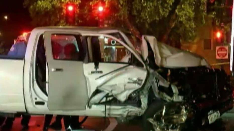 Two officers hit by speeding pick-up truck
