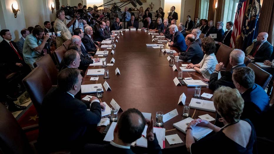 President Trump holds first full Cabinet meeting