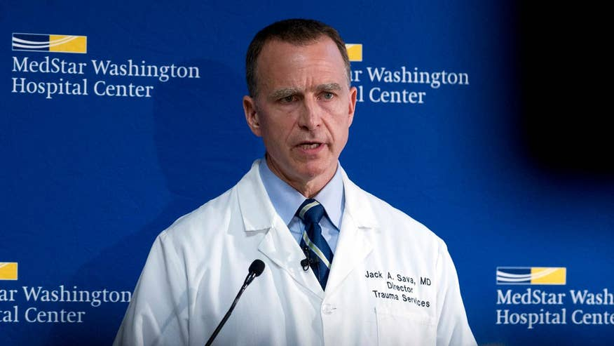 Dr. Jack Sava, director of trauma services at MedStar Washington Hospital Center, says he's encouraged by improvement in the House majority whip's condition but will require additional surgeries following attack on GOP congressional baseball team