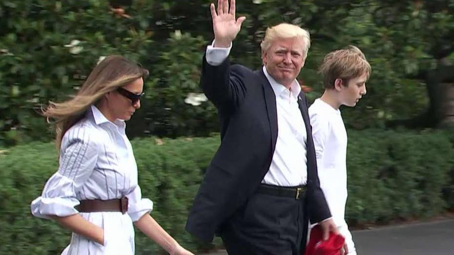 President Trump, Melania and Barron visit Camp David