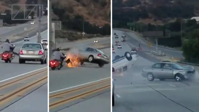 Chain reaction from apparent road rage incident flips truck