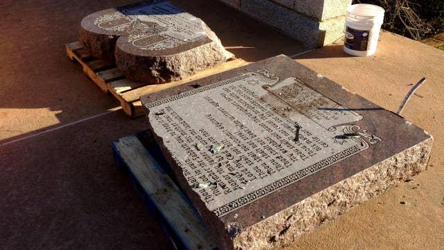Arrests made after Ten Commandments monument shattered
