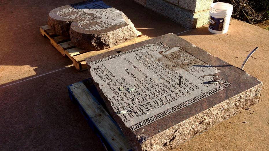 Arrests made after Ten Commandments monument shattered