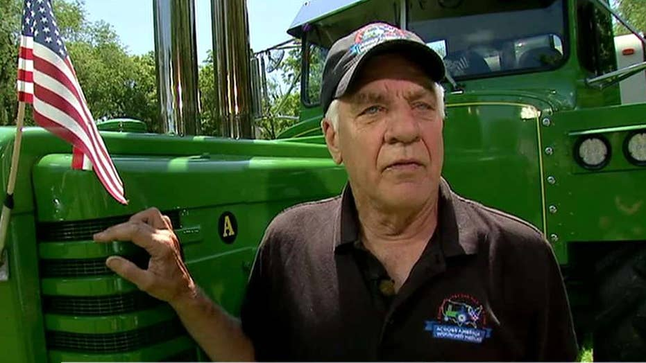 Man drives tractor across the country for wounded veterans