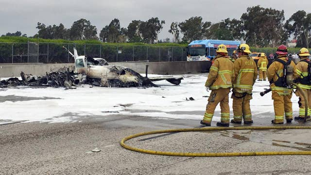 Small plane crashes on California highway